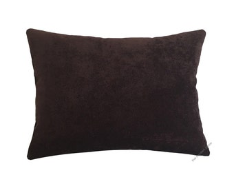 Chocolate Brown Velvet Solid Decorative Throw Pillow Cover / Pillow Case / Cushion Cover / 12x16""