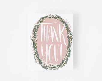 Thank You Card Set -  Botanical Wreath - Hand-Lettered - Notecard Set - Gray Envelope - Thank You Notes - Wedding Thank You