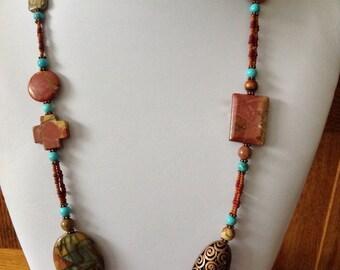 Handmade Jewelry Necklace 2 Scatter Pattern Funky Modern Southwestern Style