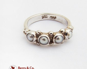 SaLe! sALe! Beaded Cultured Pearl Ring Sterling Silver