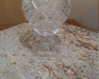 beautiful polish crystal glass compote footed vase rare unique and hard to find ON SALE