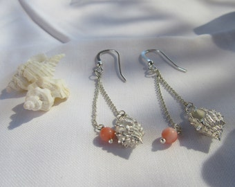Sterling Silver Shell and Coral Earrings - Dangle / Drop - Handmade