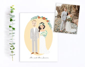 Custom Wedding Couple Portrait Illustration   Engagement, Announcement, Wedding Invitation, Save The Date, Gift Idea or Thank You's