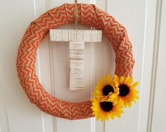Fall Monogram Wreath, Burlap Wreath, Fall Wreath, Sunflower Wreath, Monogram Wreath, Autumn Wreath, Small Wreath, 14 inch Wreath