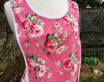 Vintage Style Old Fashioned Pink Rose Full Apron