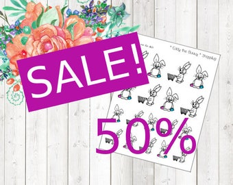 SALE - Eddy the Bunny - shopping (Erin Condren and Happy Planner Stickers)
