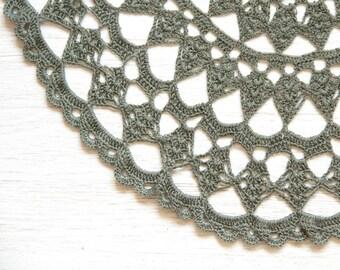 Olive green crochet Doily Vintage lacy doily