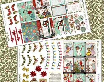 Christmas Vintage Holidays Decorations Planner Stickers