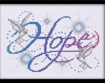HOPE Cross Stitch Kit from Design Works ,spiritual cross stitch, sentiments cross stitch, doves needlework kit, embroidery kit