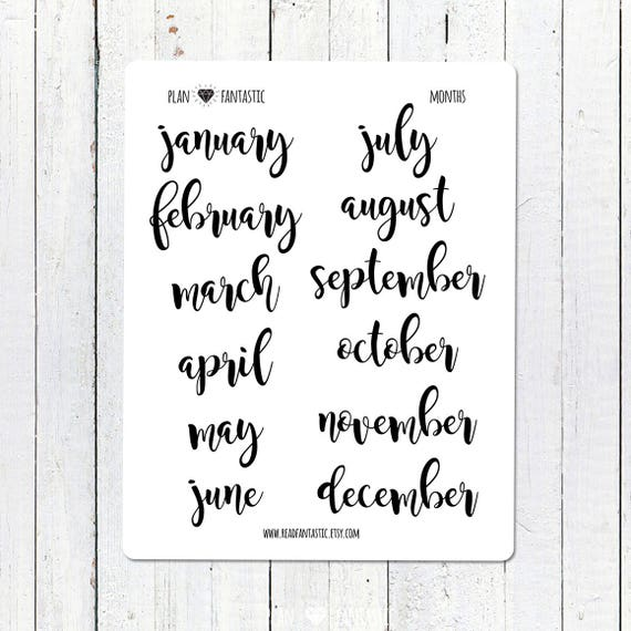 Monthly Bullet Journal Stickers Brush Lettering Planner