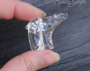 Ice Bear - Snowflake on a Clear Polar Bear, sculpted, Lampwork Bead Focal, cute, clear, snow, winter