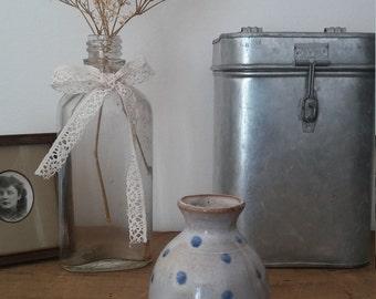 DOT, pottery vase, ceramic vase, flower vase, handmade vase, vintage vase, light blue, shabby chic, bohemian decor
