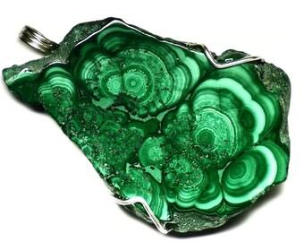 Malachite Statement Necklace, Huge Malachite Slice Jewelry, Congolese Malachite Pendant in Sterling Silver, Raw Malachite From the Congo