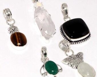 Crystal Rough , Tiger eye , Black Onyx , Emerald . Rainbow Moonstone , Handmade 925 Silver Plated PENDANTS Lots B 505