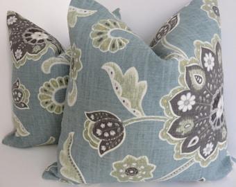 P/Kuafmann Pillow Covers- Ankara Blue Gray Green Ivory Pillow Covers-  Black Blue Gray Pillows- Pillow Covers- Accent Pillows- Home Decor