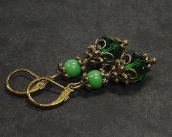 Bronze turquoise green earrings