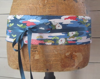 "Obi belt reversible in Japanese fabric blue and pink ""clouds"""