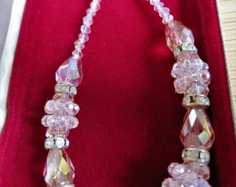 Pretty vintage 1950s blush pink crystal necklace