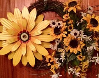 Sunflower Spring Summer Year Round Grapevine Door Wall Wreath