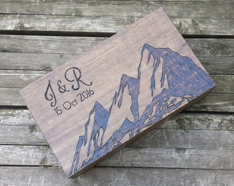 Anniversary wedding wine box, Custom engraved box love letter and wedding, first fight box, housewarming gift, advice card box, mountain box