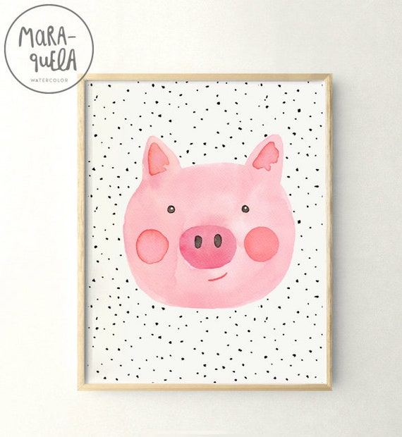 Ilustración CERDITO infantil, acuarela /  Little PIG, print in watercolor