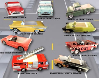 Lot of 6 Classic Car & Modern Truck Food Boxes, Food Trays-Tailgate Food Boxes-Vintage Party Paper Food Tray- Cute Kids Paper Car Favor Box