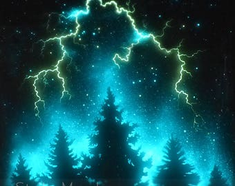 Glow in the Dark Poster | Lightning Over Trees