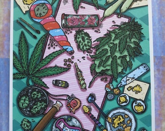 "Limited Edition Iridescent Print ""Cannabis Altar I"""
