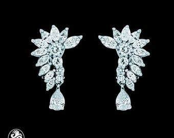Diamond Earrings, Marquise Diamond Earrings, French Clip Diamond Earrings, Fan Shaped Diamond Earrings, Red Carpet Collection | EAR01813