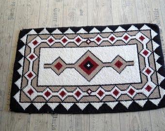 Vintage Swedish Rag Rug, Hand Woven Wool Rug, Red, Blue Yellow Rug Handmade Woolen Carpet Scandinavian Rug Cottage Floor Runner Rustic decor