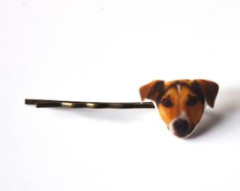 1 Barrette cheveux photo portrait de Tête de chien Jack Russell terrier; bijoux coiffure kawaii pour filles et femmes