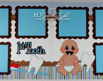 2 Premade Scrapbook Pages 12x12 Layout Paper Piecing Baby Boy First Tooth Handmade 132P