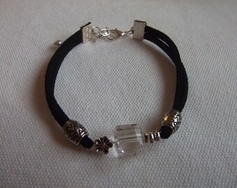 Black Suede strap and Crystal bead
