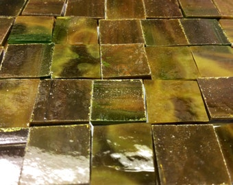 TORTOISE SHELL Green & Brown Opal 50 1/2 Stained Glass Mosaic Tile B37