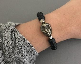 Skull Bracelet, Pyrite Skull Black Onyx Bracelet, Men's Bracelet, Johnny Depp Bracelet, Pirate Bracelet
