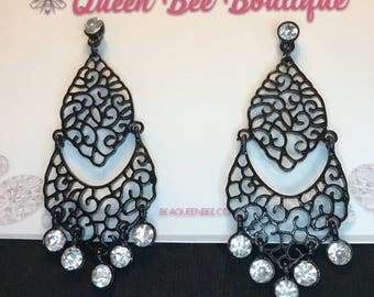 Black Gothic Style Dangle Earrings Pierced Post
