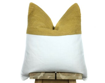 New! Linen and Mustard Mudcloth Pillow Cover | 'Indi'