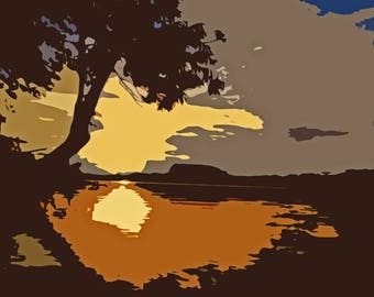 Lake Sunset Landscape Abstract --INSTANT DOWNLOAD--