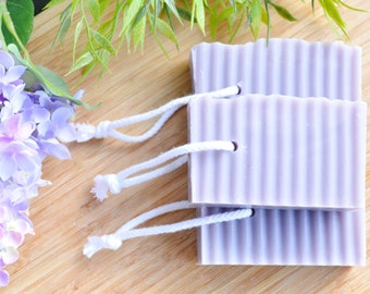 SAVE 33% - Lilac Shower Soap - Soap on a Rope - Purple Soap - Cold Process Homemade Soap - Wavy Soap - Vegan Soap Favos - Lilacs Scented