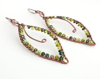 Green Leaf Earrings, Seed Bead Earrings, Simple Earrings, Nature Inspired Earrings, Sustainable Earrings, Eco Friendly