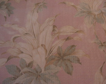 Vintage Barkcloth Drapery Panel Remnant Dusty Pink Background Cream floral 1940's