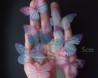 8pcs 5cm Double Sided Organza Fabric Butterfly Wings Butterflies Craft Jewelry Hat Making Earrings Findings Lingerie Bralette Sewing Project