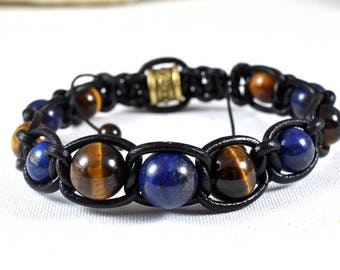 Bracelet lapis lazuli range shamballa leather upper-Tiger eye