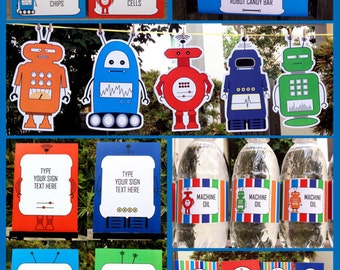 Robot Party Invitations & Decorations - full Printable Package - INSTANT DOWNLOAD with EDITABLE text - you personalize at home