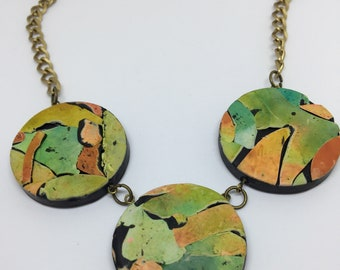 Rustic polymer clay mosaic style pendant