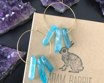 Teal Quartz Hoop Earrings, Quartz Point Earrings