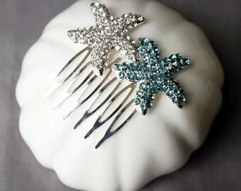 Bridal Aqua Blue Rhinestone Hair Comb Wedding Crystal Starfish Hair Clip Wedding Hair Accessories Beach Wedding Jewelry CM095LX