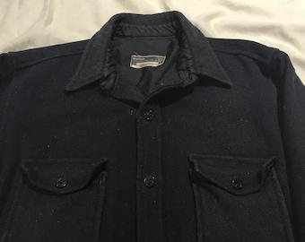 1960s Artisano Navy wool sailor shirt Large short