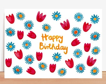 Postcard *happy birthday* with flowers (birthday card, greeting card)