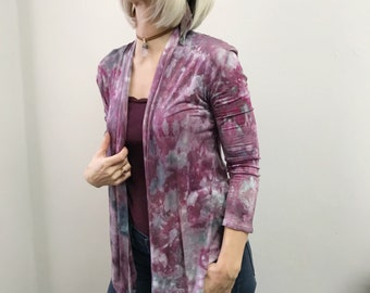 Hand-dyed cardigan - Purple cardigan - purple boho jacket - Tie dyed cardigan -Tie dyed boho jacket-Purple spring jacket